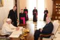 Prezident Miloš Zeman s papežem Františkem při oficiální návštěvě Vatikánu