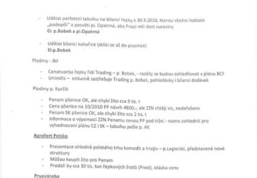 Zápis z porady Agrofertu, str. 2