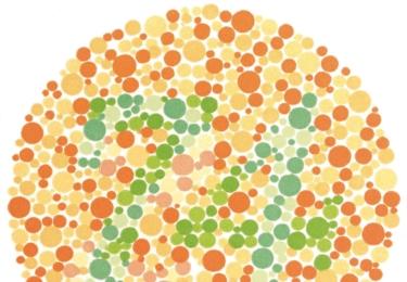 Barvy mají důležitý význam z hlediska bezpečnosti, například v dopravě. Pokud na obrázku vidíte jiná čísla než 57 a 74, je možné, že trpíte poruchou vnímání červené a zelené barvy.