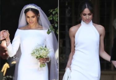 Opět Twitter: Meghan měla šaty britské návrhářky Clare Waight Keller (Givenchy). Ty druhé šaty měla na večer