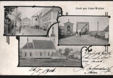 Okénková pohlednice Dolní Vltavice – ulice, železný most přes Vltavu, kostel sv. Linharta.  (Autor neuveden, odesláno 26. 8. 1906, zdroj: sbírka Dr. Otto Spitzenberger)