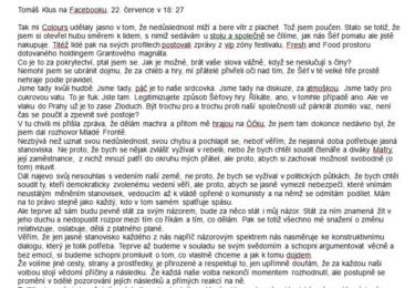 Text vyjádření Tomáše Kluse z jeho Facebooku