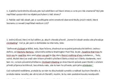 Pan Lukačovič samozřejmě nic začerněného v dopise neměl; Seznam dbá na GDPR, tak jsem dle zákona černila jak mourovatá