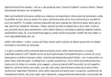 K dopisu jsem přidala své odpovědi na otázky novináře (víc neprozradím - GDPR :-), které ale dosud nevyšly