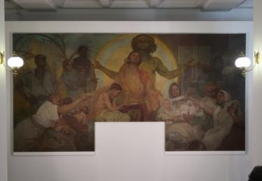 Obraz Bůh Mamon (jak bylo dílo označeno při zápisu do sbírky) o rozměrech 2,4 x 4,6 m
