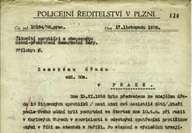 Křišťálová noc na Karlovarsku: ZPRÁVA POLICEJNÍHO ŘEDITELSTVÍ V PLZNI - ŽIDÉ VYHNANÍ Z KARLOVÝCH VARŮ, Národní archiv v Praze