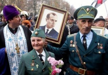 Hrdí Ukrajinci s Banderou na obrázku / Facebook