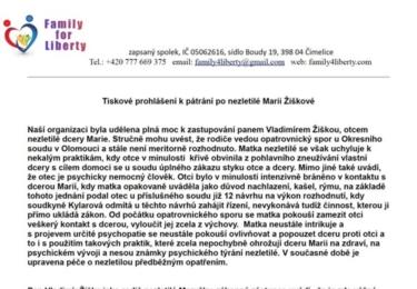 Kauza Maruška Žišková: To nejdůležitější, co si také musíte přečíst, dvě tisková prohlášení z pera zástupce otce, pana Jandy