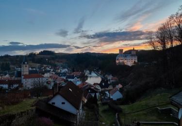 Rožmberk je prostě nádherný ve všech ročních obdobích, tento snímek je z 18. března. Foto Facebook TS Lipenska