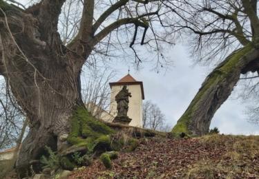 Před kostelem se také nachází kamenná socha sv. Jana Nepomuckého z roku 1728