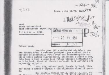 Vážená paní Marto Gottwaldová... Všechny dopisy jsou uvedeny v doslovném znění. Kopie originálů této korespondence jsou součástí autorova archívu