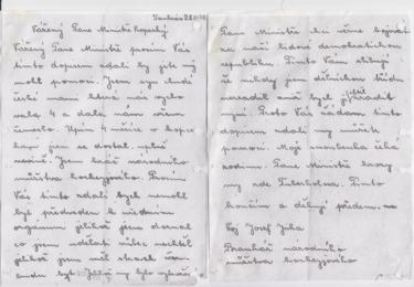 Dopis Josefa Jirky, vynesený z pankrácké věznice, však vysokopostavený adresát nakonec nedostal