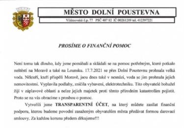 Žádost a volání o pomoc města Dolní Poustevna