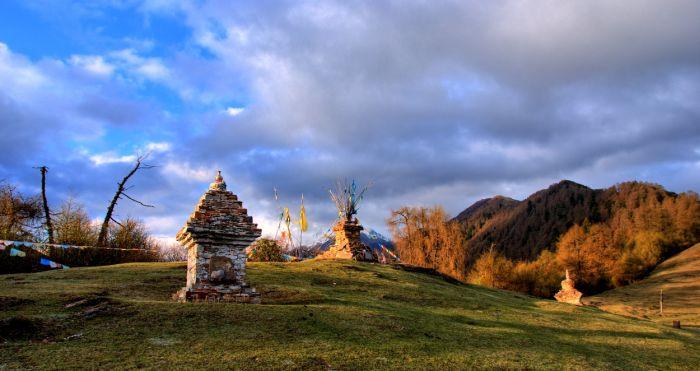 Stúpy v národním parku Siguniang