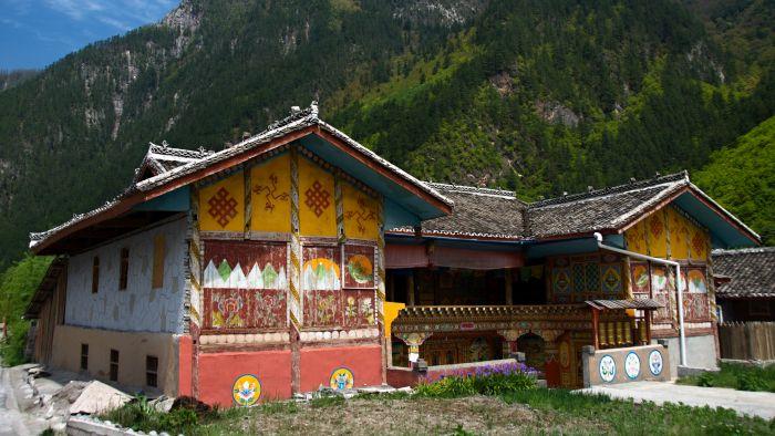 Tibetský dům ve vesnici Huzheng