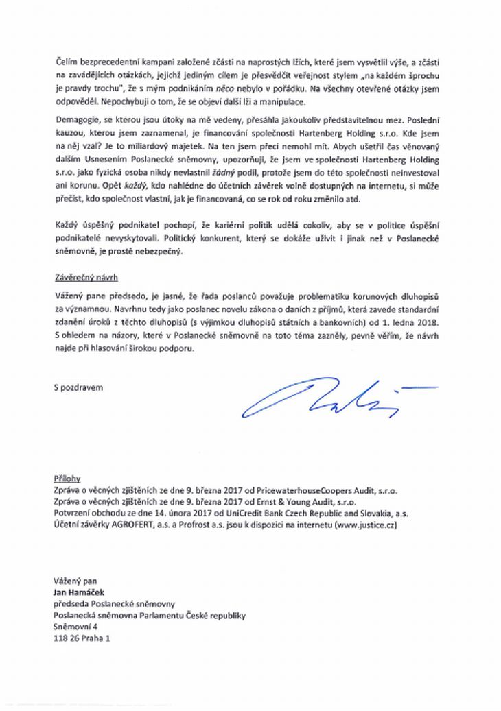 Dopis Andreje Babiše