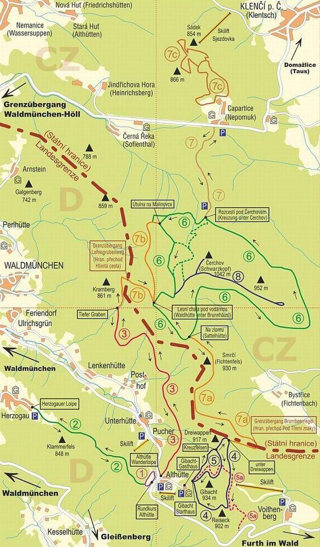 Běžkařské trasy pod Čerchovem