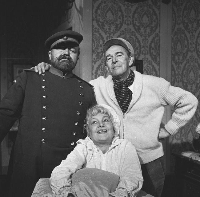 S Jiřinou Šejbalovou a Janem Werichem v roce 1962 při natáčení televizní inscenace Slzy, které svět nevidí