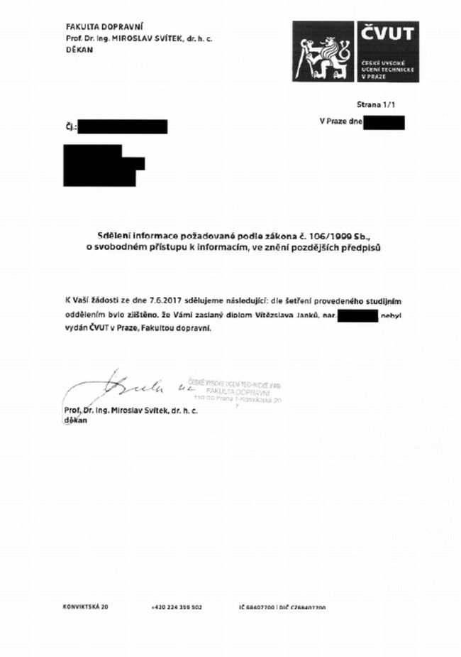 diplom Vítězslav Janků - vyjádření