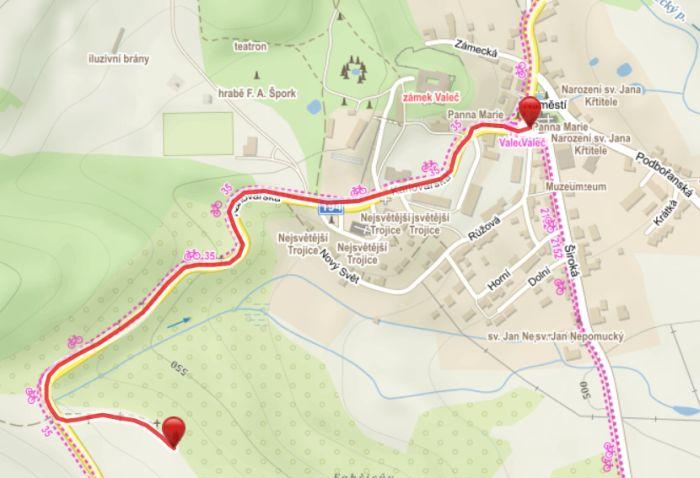 Křížová cesta Valeč - mapa
