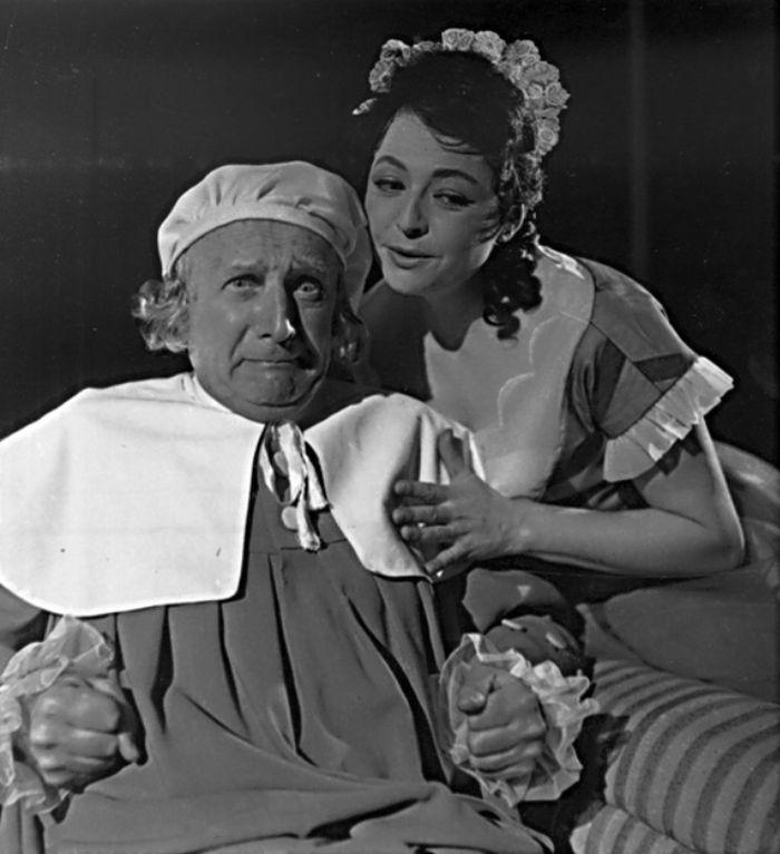 S Jiřinou Petrovickou v roce 1960, v Moliérově komedii Zdravý nemocný
