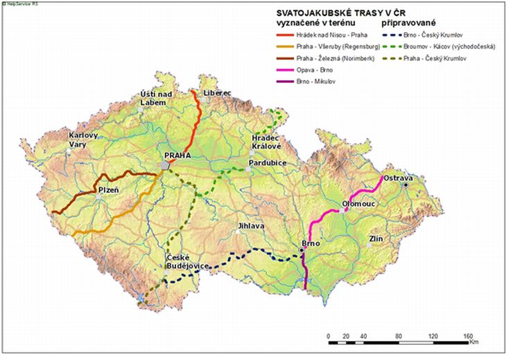 Svatojakubská cesta - mapa