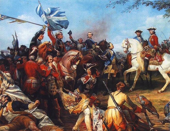 Francouzská armáda po vítězné bitvě u Fontenoi 1745.