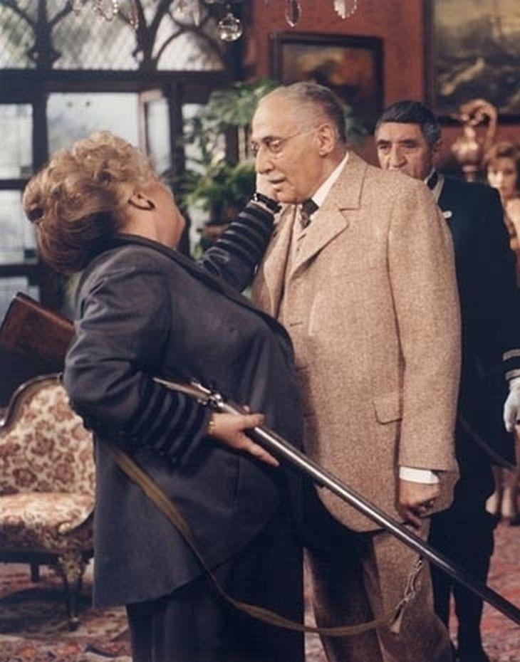 Stella Zázvorková a Miloš Kopecký V roce 1985 v televizní inscenaci Růžový Hubert
