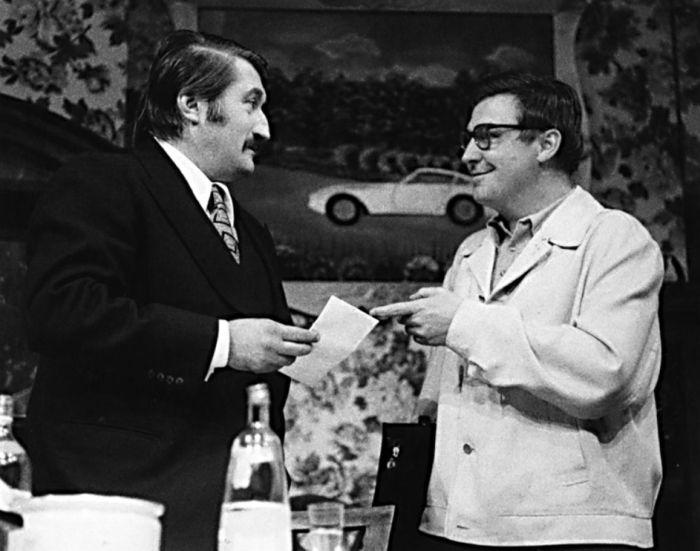 S Pavlem Landovským v představení Stříbrný jaguár – Činoherní klub Praha 1975