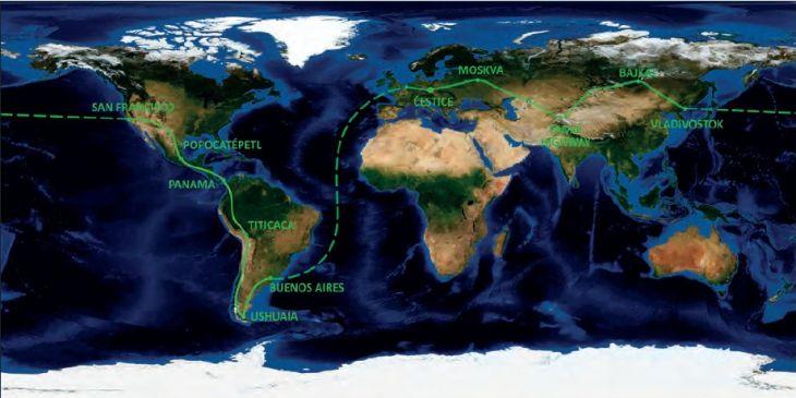 Kolem světa Žigulem - mapa