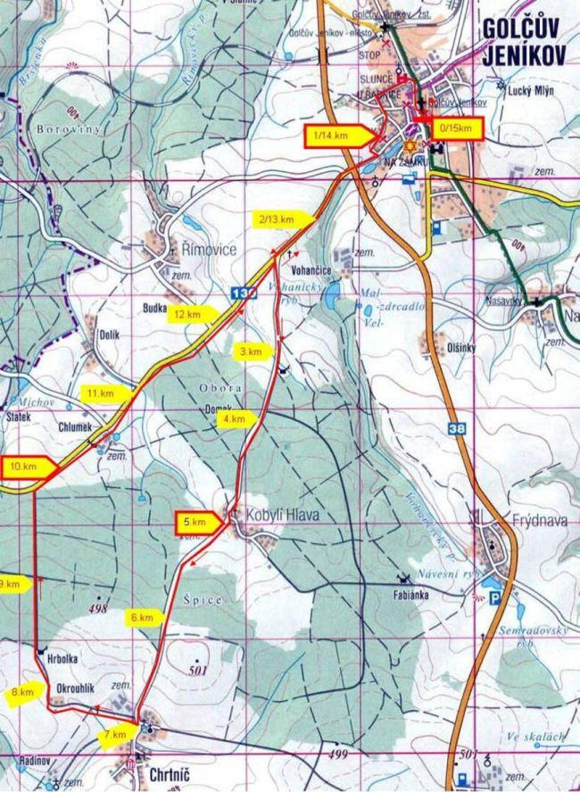 Běh Jarmily Kratochvílové - mapa trati