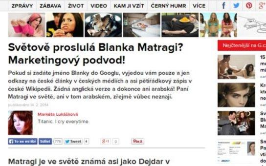 Drsný útok na návrhářku Blanku Matragi. Zveřejněna dosud neznámá pravda