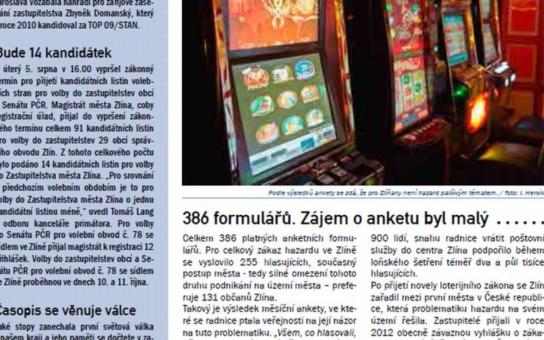 Zlínský magazín funguje jako propaganda hazardu, tvrdí šéf občanského sdružení, které požaduje referendum. Město brzdí zadními