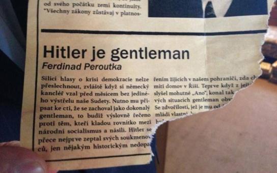 Našli to v Čapkově vile a Zeman měl zase jednou pravdu! Jen TV mlčí, píše čtenářka a posílá fotku Peroutkova článku ´Hitler je gentleman´. Je to opravdu tak?