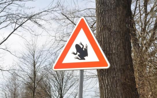 Unikátní dopravní značka upozorňuje řidiče na silničním úseku kousek od Vyskytné. Avizované nebezpečí ale nehrozí jim, nýbrž chráněným obojživelníkům