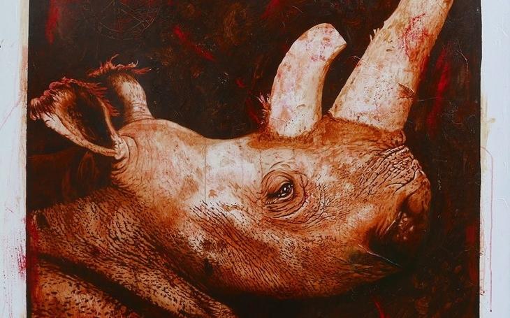 Obraz nosorožce bílého, který žil v ZOO Dvůr Králové, se prodal za 11 000 eur. Peníze půjdou na výzkum umělé reprodukce nosorožců, řekl autor