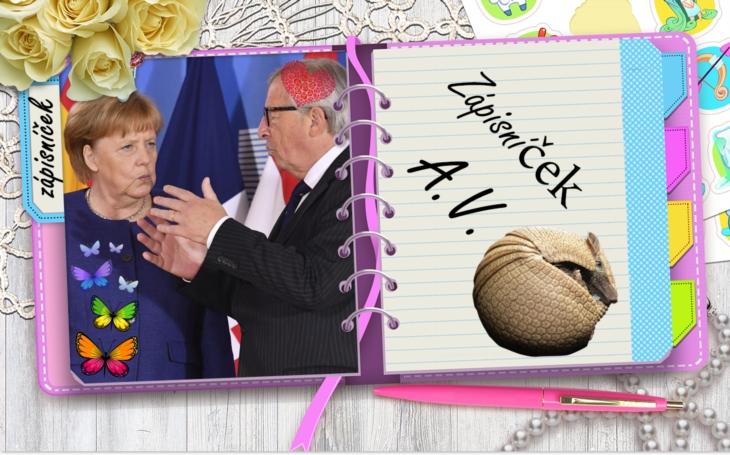 900 slov. Jestli chceme uřídit migraci a přežít, musí Mutti Merkel a žlutozubec Juncker od válu. Zápisníček A.V.
