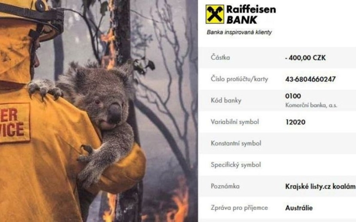 Zoo Praha vybrala na pomoc Austrálii za 2 dny přes milion. A co celebrity? Russell Crowe vydražil svoji začouzenou propocenou kšiltovku a Kvitová v Brisbane…